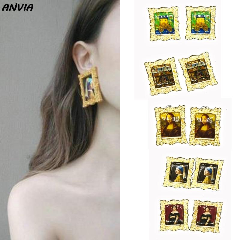 2019 Oil Painting Portrait Lady Duke Mona Lisa Vincent Van Gogh Mystic Nativity Stud Earrings Jewelry For Women Wholesale in Stud Earrings from Jewelry Accessories