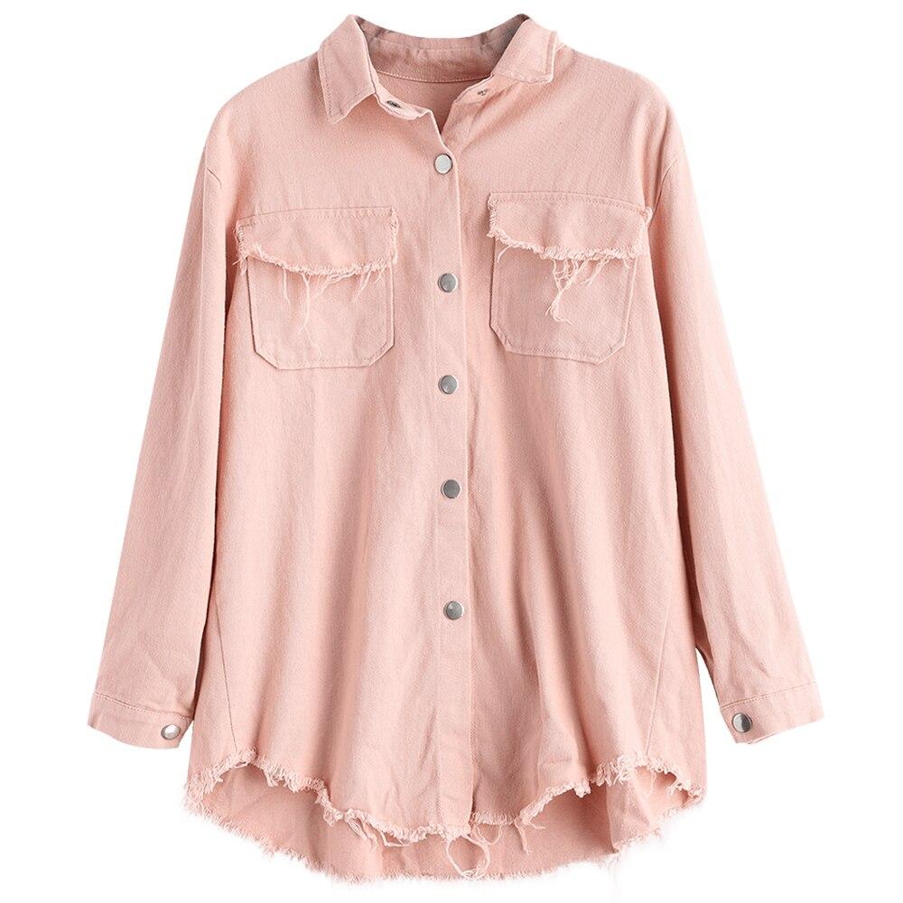 ZAFUL Women Flap Pockets Jacket Loose Button Up Frayed Shirt Jacket Solid Slim Shirt Collar Jacket Coat