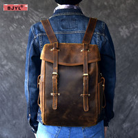 BJYL Genuine Leather Men backpack 14 Laptop shoulder bag retro handmade school bags crazy horse leather male travel backpacks