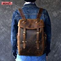 BJYL Genuine Leather Men backpack 14 Laptop shoulder bag retro handmade school bags crazy horse leather male travel backpacks