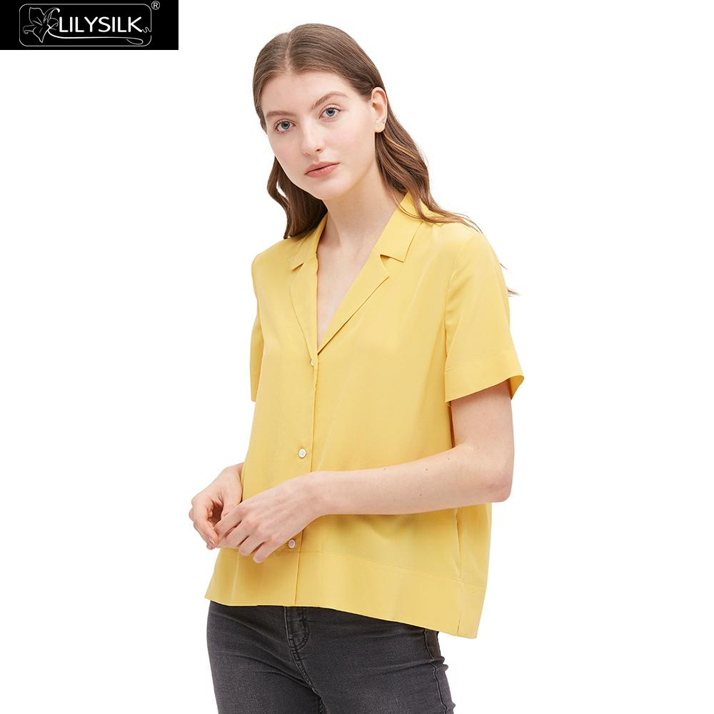 LilySilk Shirt Blouse Women Silk V Neck Half Sleeve Notch Ladies New Free Shipping