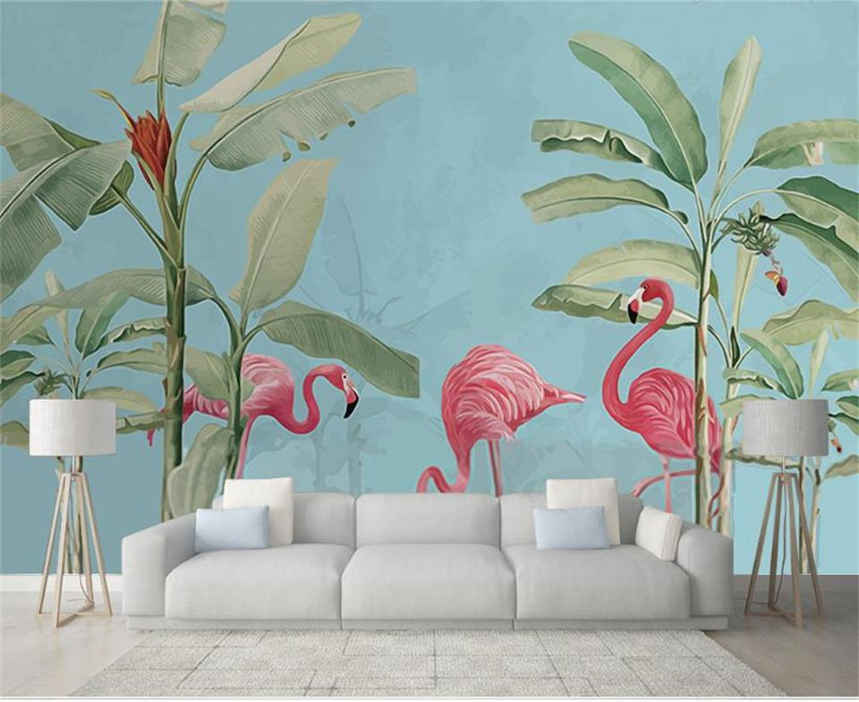 custom 3d wallpaper photo wallpaper living room mural tropical flamingo 3d painting sofa TV background wall non-woven sticker large mural living room bedroom sofa tv background 3d wallpaper 3d wallpaper wall painting romantic cherry