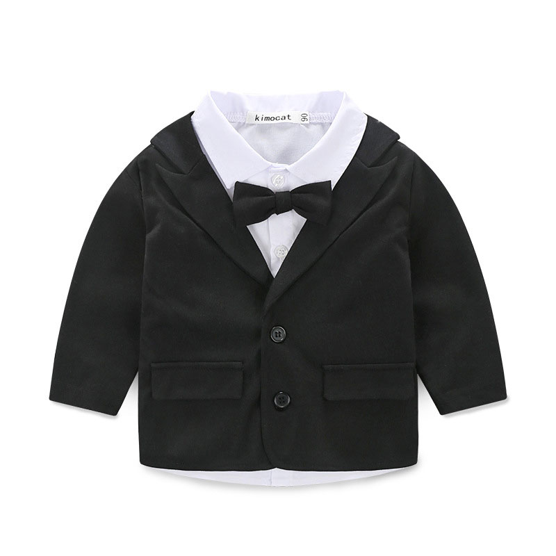 baby boy clothes set toddler boys gentleman bow tie suit 3 pieces kids boys formal suits for birthday party black clothing sets
