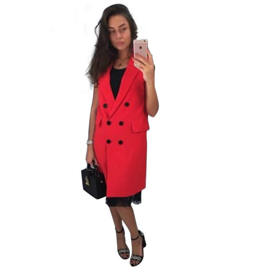 JOYINPARTY 2017 new fashion Russian style women's autumn vest red, white pink and yellow lapel solid color vest