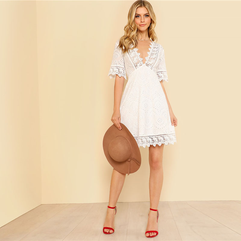 160d3d8aa098 2019 SHEIN Lace Trim Eyelet Embroidered Dress Women White Deep V ...