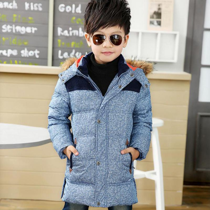 High Quality Long Winter Coat Boys Fleeced Hooded Down Jacket For Boys Children Outerwear Winter Jackets Coats LSK1001