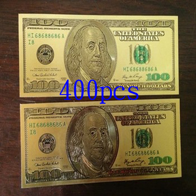 Usa 24k Gold Foil Banknotes Collection Color Printing 100 Dollars Bill Banknote Paper Money Gift Make Ing 400pcs Set