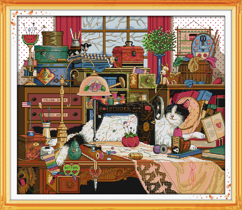 Joy sunday animal style The cat and sewing machine counted cross stitch christmas stocking kits for handcraft painting