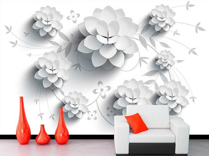 ⊱Custom 3D wallpaper, patrón blanco del vector flores 3D murales ...