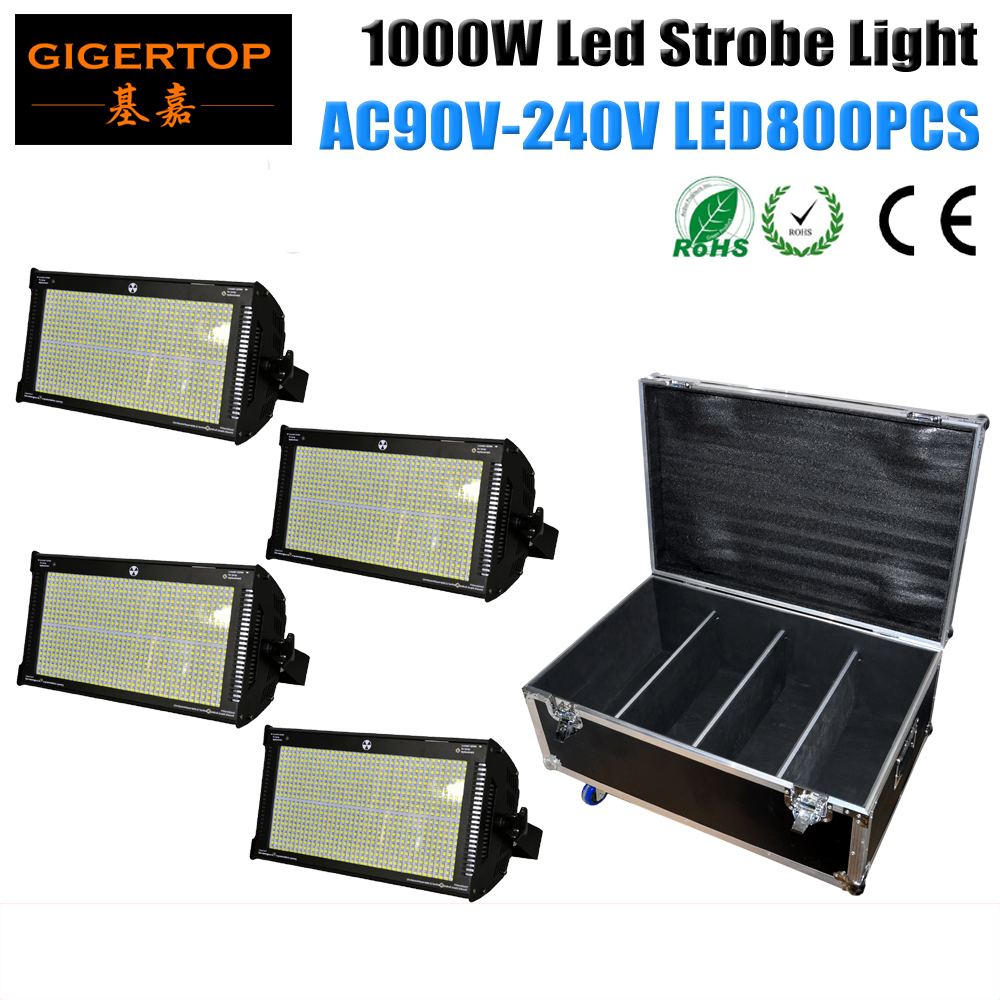 Freeshipping 4in1 Flightcase Packing 1000W Led Strobe Light Professional Led Stage Lighting Brighter Than Old ATOMIC 3000 DMX512