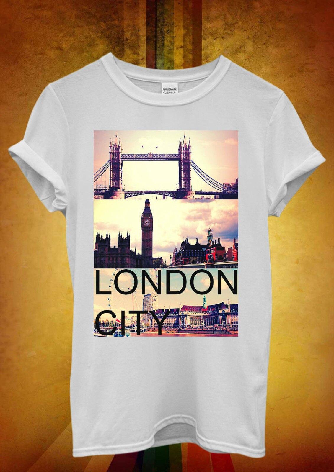 London City Big Ben Tower Bridge Men Women Unisex T Shirt   Top Vest 749 New T Shirts Funny Tops Tee New Unisex Funny Tops