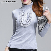 JYConline Autumn Lace T Shirt Female Long Sleeve Turtleneck T Shirts Women Tops Plus Size T