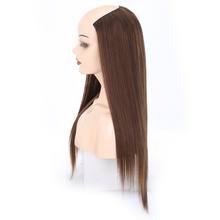 Alileader 230g Natural U part Half Wig Synthetic Hair For Women 24 Long Straight Ombre Clip In Extensions Heat Resistant