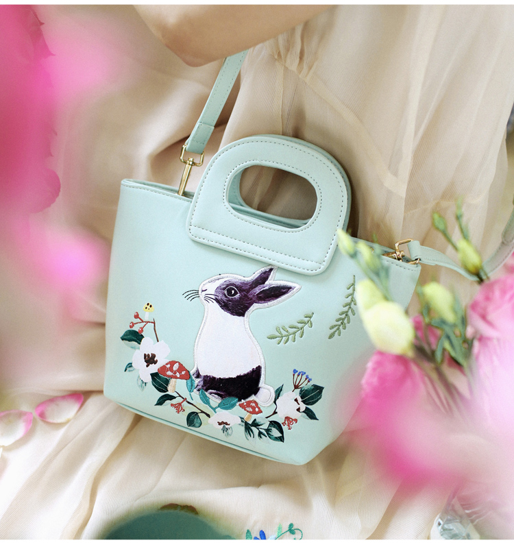 Lady Green Rabbit Mori Girl Fashion Mori Hobos Fairy Tale Bags Leather PU For Women's Handbags Messenger Bags Top-HandleTotes