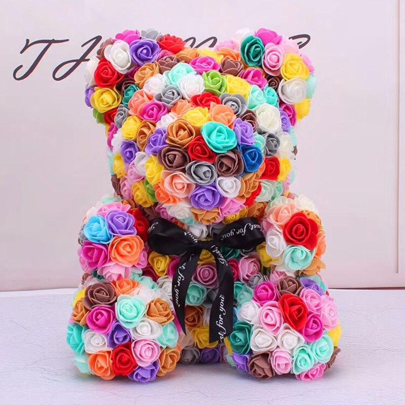 Teddy bär 35 cm künstliche schaum rose bär Hochzeit jahrestag valentinstag geburtstag geschenk hochzeit geschenk blume