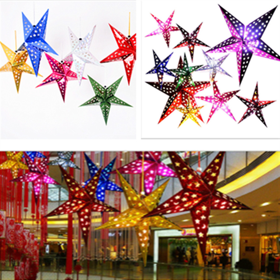 1PC 30cm-45cm-60cm Shiny Star Paper Lampshade Lanterns Party Decoration Craft For Wedding Christmas Party Decoration Supplies