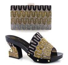 Mode-Design italienische Schuhe und passende Taschen für Hochzeit, Nigeria schwarz für afrikanische Dame entsprechen die Schuhe HJX1-1