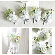 YO CHO Artificial Flowers Wrist Corsage Silk White Wedding Corsages Boutonnieres Mariage Groom Bridesmaid Bracelet Flower