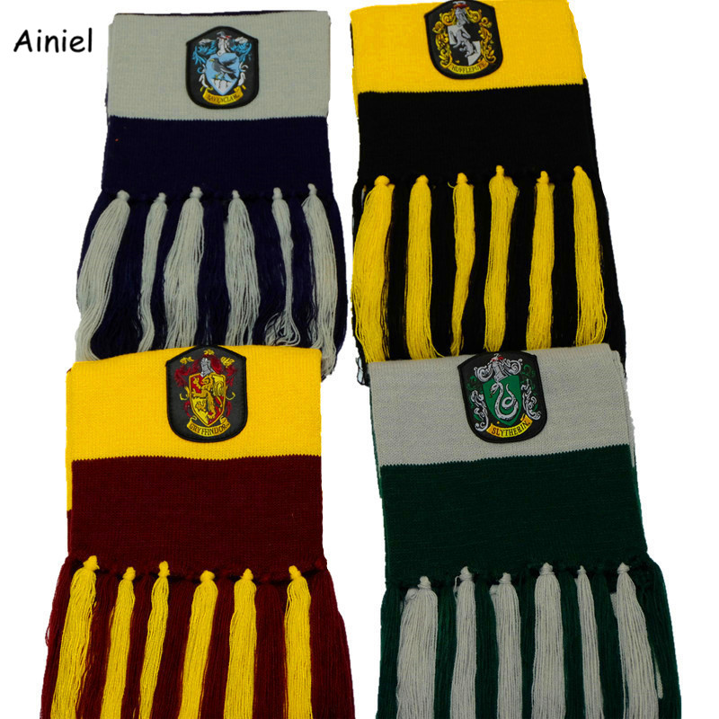 Ainiel Wholesale 10 PCS LOT Neckerchief Long knitted Scarf Gryffindor Ravenclaw Slytherin Hufflepuff  Scarves for Women Men Kids