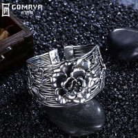 GOMAYA 990 Sterling Silver Bangles Elegant Flower Bracelets for Women Ethnic Fashion Accessory Jewellery Puseira Floral Roses