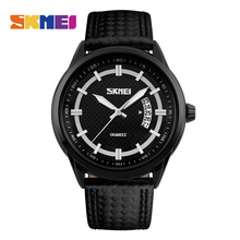 SKMEI Men Quartz Watches Auto Date Leather Strap Watch Causal Fashion Sport 50M Waterproof Wristwatches Relogio Masculino 9116 skmei sport quartz watches men causal fashion watch leather strap waterproof date wristwatches male relogio masculino wristwatch