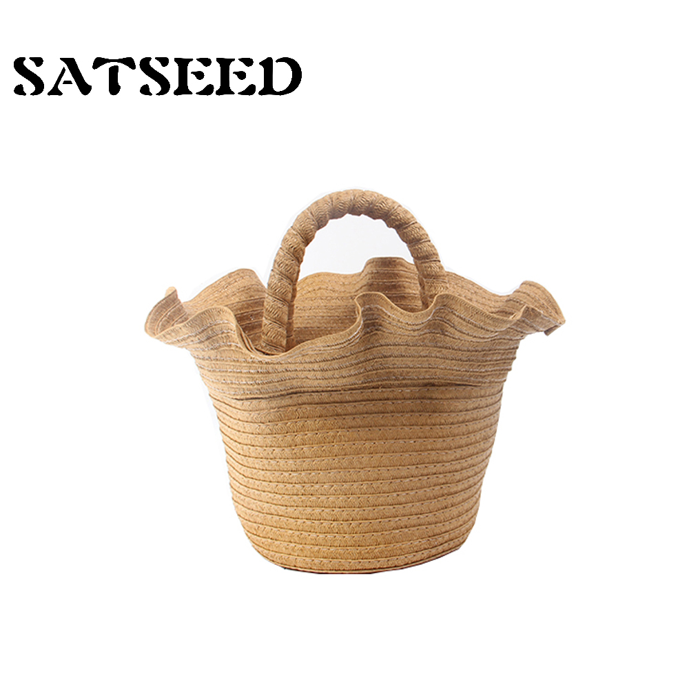 2018 New Japanese Holiday Style Romantic Lace Straw Bag Hand Basket Beach Bag