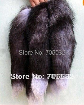 "Big Fox Fur Tail Keychain Tassel Bag Handbag Pendant Accessory 16"" Black"