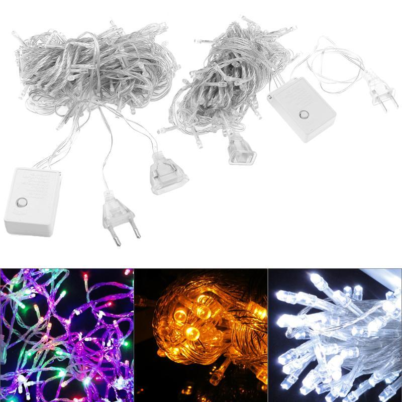 Christmas Tree Indoor Lights: 220V 110V 8 Mode 10m 100 LED String Lights Holiday