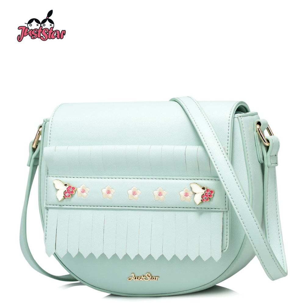 JUST STAR Women PU Leather Messenger Bag Ladies Embroidery Flower Purse Female Leisure Fresh Saddle Tassel Crossbody Bags JZ4430 just star women s pu leather messenger bags ladies embroidery shoulder purse female chain leisure whale crossbody bags jz4468