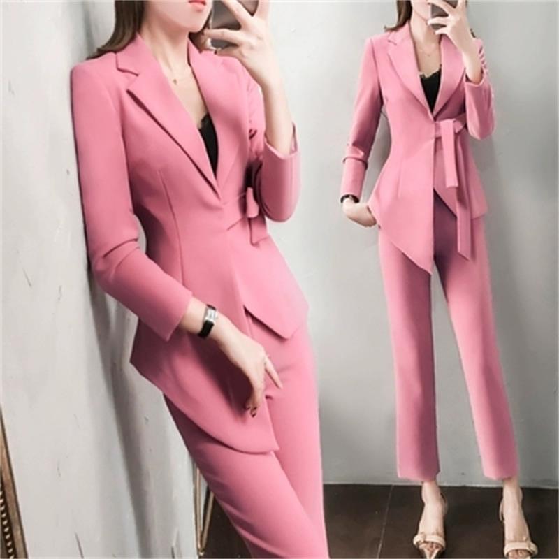 Fashion goddess suit suit female New women's spring lady ladies temperament irregular Pink small suit two piece Women Pant Suit