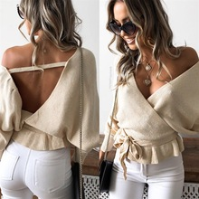 new  Sexy Club Crocheted V-Neck Pullovers woman sweater Solid backless winter autumnr Europe style female sweaters