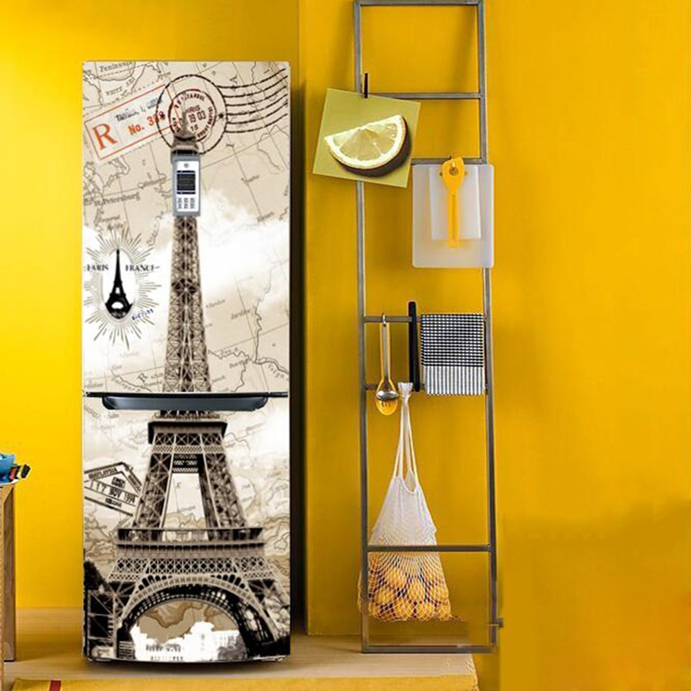 Buy yazi eiffel tower pvc fridge door for Door mural stickers