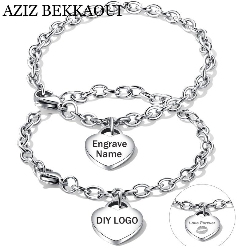 62f58088fa68 AZIZ BEKKAOUI personalizada nombre pareja pulseras DIY grabado de acero  inoxidable pulseras para las mujeres hombres colgante corazón pulsera