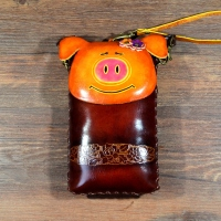 Handmade Zodiac wallet genuine leather coin purse cartoon animal pig bag mini bags