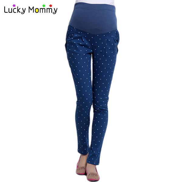 4 colores más tamaño pantalones de maternidad impresión del punto de polca de maternidad ropa para mujeres embarazadas otoño embarazo primavera pantalones M-XXL