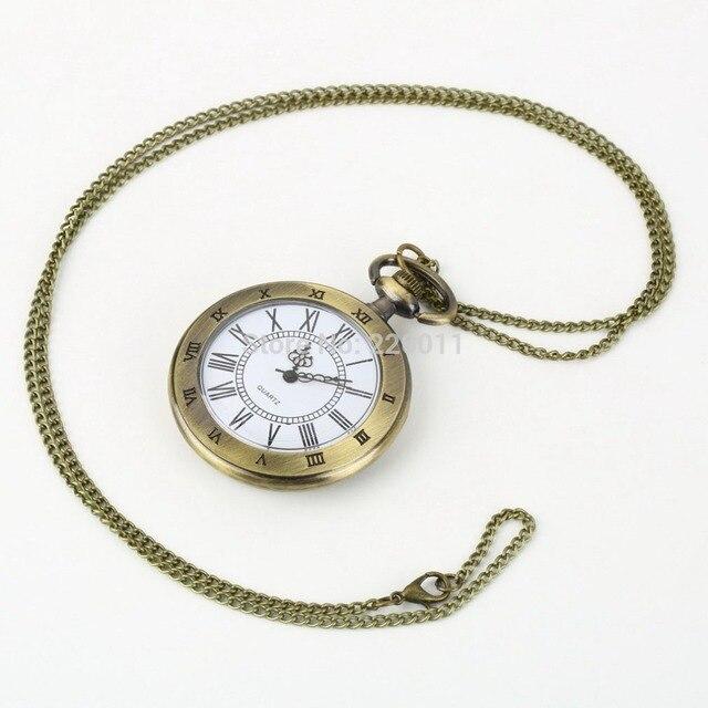 bd40ed6c0c1d 2018 romano bolsillo WatchVintage hueco de bronce de hueco collar de reloj  de bolsillo de cuarzo