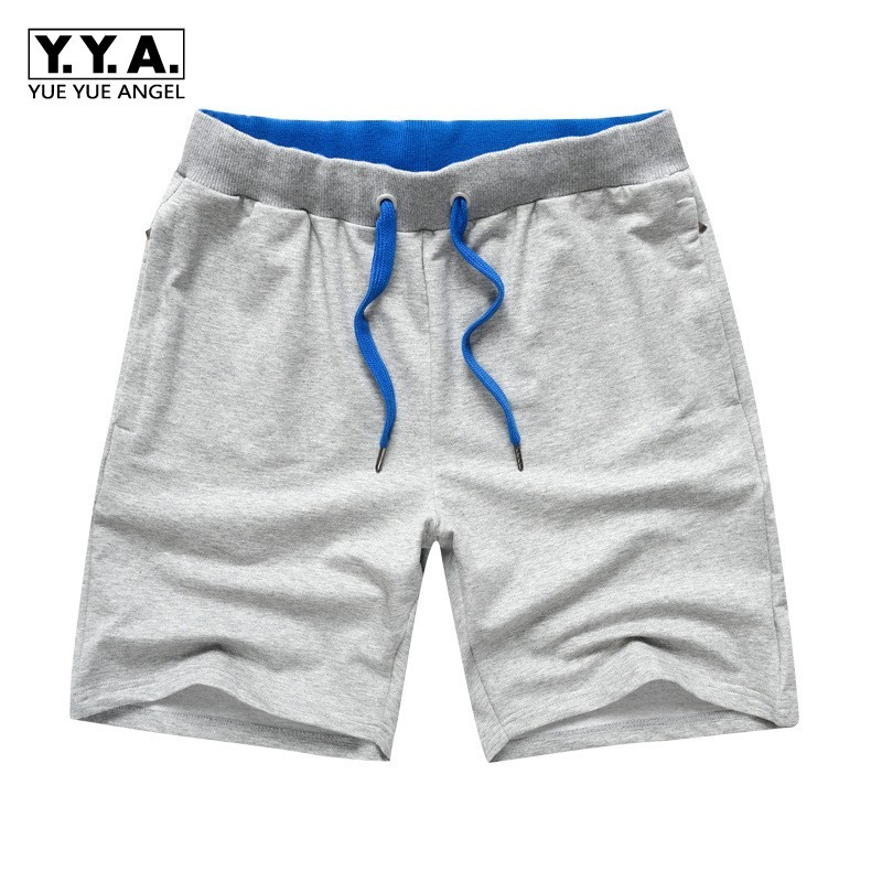 Summer New Casual Mens Knee Length Drawstring Waist Straight Shorts Thin Knitting Plus Size Loose Male Sport Shorts Streetwear