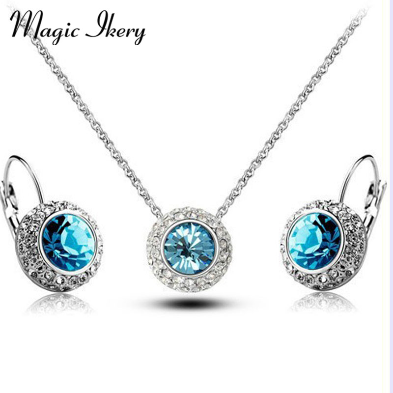 Magic Ikery New 2016 Rose Gold Color Rhinestone Vintage Moon River Crystal Jewelry Sets Fashion Jewelry for women MKY4335