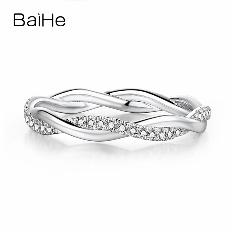 BAIHE Solid 18K White Gold(AU585) 0.18ct Certified H/SI Genuine Natural Diamonds Round Engagement Women Trendy Fine Jewelry RingBAIHE Solid 18K White Gold(AU585) 0.18ct Certified H/SI Genuine Natural Diamonds Round Engagement Women Trendy Fine Jewelry Ring