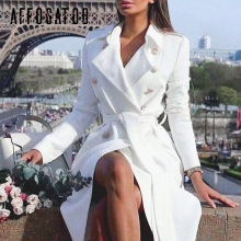 Affogatoo Elegant Office ladies double breasted white trench coat Sashes slim