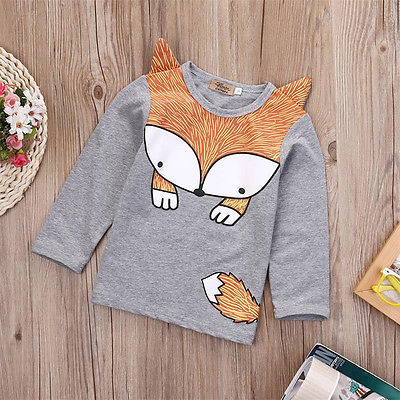 2017 Spring Autumn Cute Newborn Infant <font><b>Baby</b></font> Fox Print Tops <font><b>Long</b></font> <font><b>Sleeve</b></font> T <font><b>Shirt</b></font> image