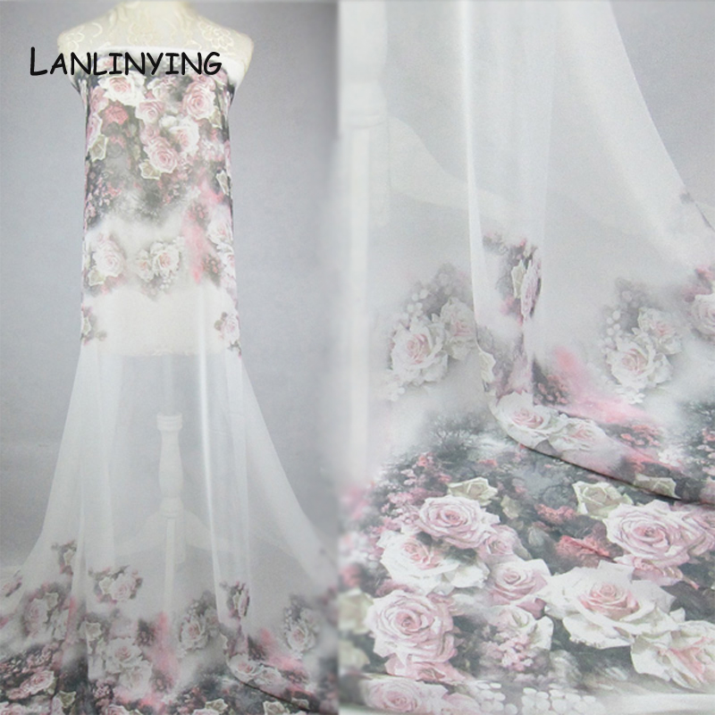 LANLINYING New Arrival Retro Ground Dress Gowns Fabric White Rose ...