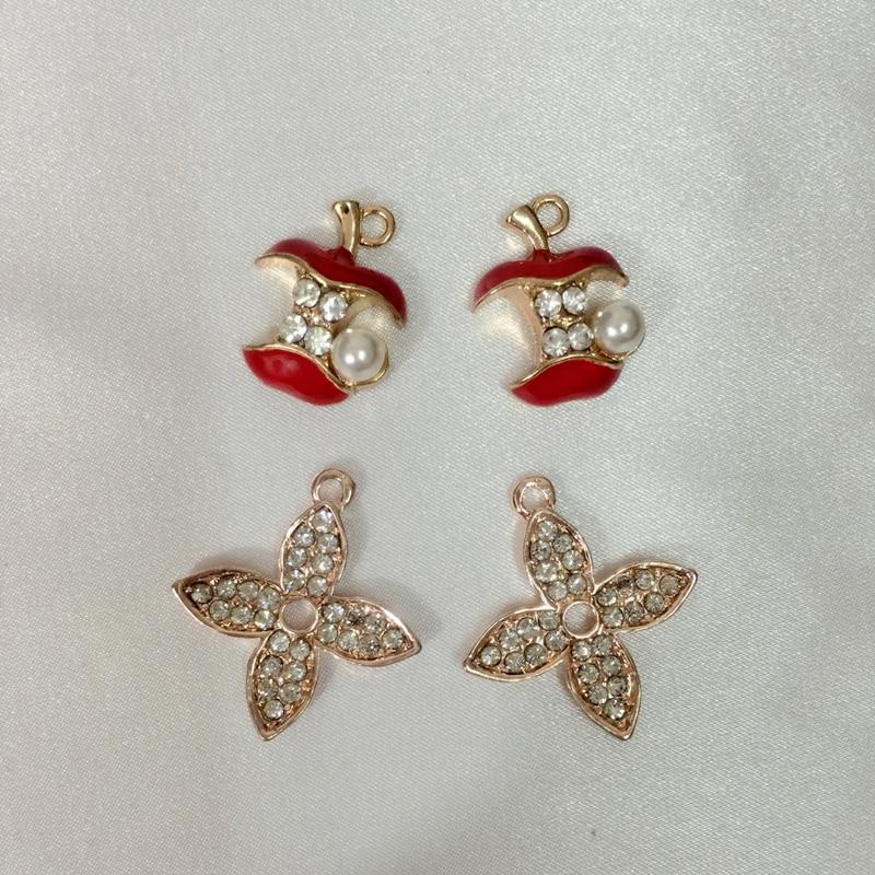 20Pcs/lot Apple & Luck Leaf Tone Glazing KC Color Alloy Pendants Jewelry Charms