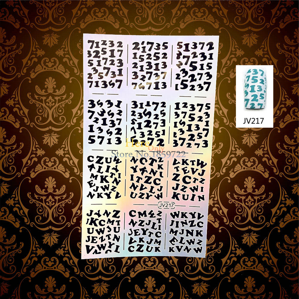 ჱarabic numerals pattern hollow flash nail stencil polish painting