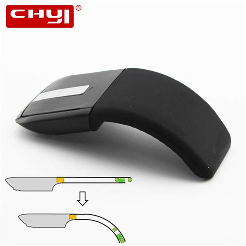 CHYI 2.4Ghz Sammenleggbar Trådløs Mus Folding Arc Touch Mus Fordi Computer Gaming Mouse Mus For Microsoft Surface PC Laptop