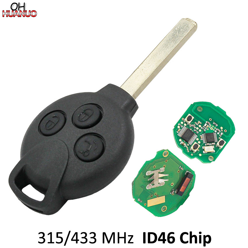 Parts & Accessories Automotive 2Pcs Remote Control Key 4 btn 315MHz 7941 Chip with Battery Fit For Smart Fortwo