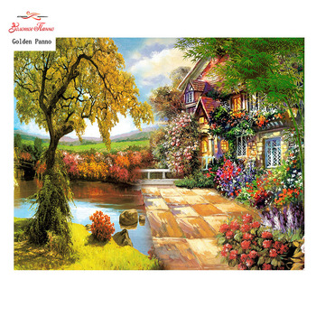 Golden Panno,Needlework,DIY DMC Cross stitch,Sets For Embroidery kit 14ct unprinted Flower house cross-Stitching,christmas 0109