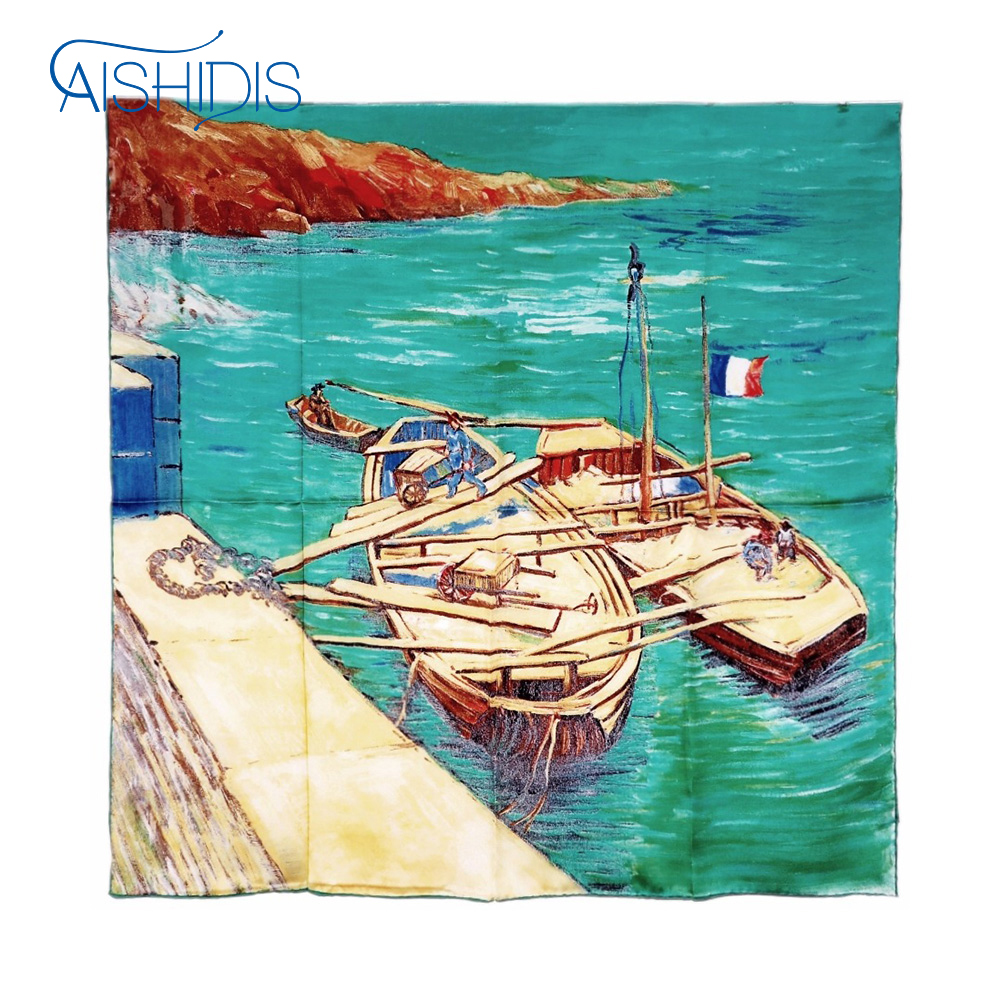 Women Silk Square Shawl Scarf Wraps Big Size Handmade Van Gogh's  Landing Stage with Boats