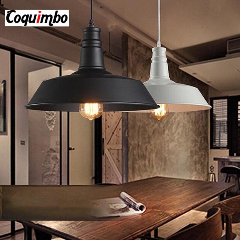 Luminaria Industrial Pendant Lights Vintage Wrought Iron Lid Black White Ceiling Pendant Lamps