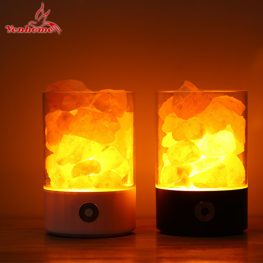USB Crystal Salt Night Light Himalayan Crystal Rock Salt Lamp LED Air Purifier Night Light Rechargeable Bedside Creative Lamp beautiful night lamp triangle hand carved usb wooden base himalayan crystal rock salt lamp air purifier night light